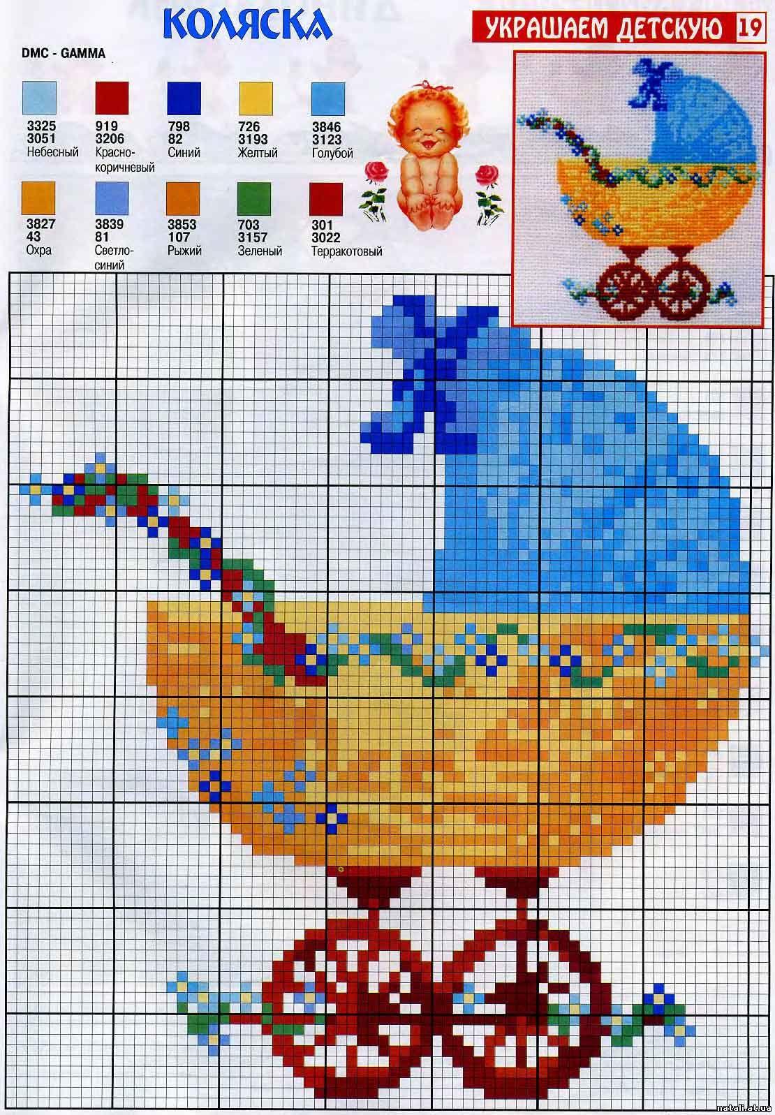 Схема вышивания крестиком с рождением