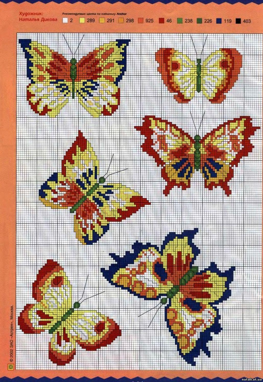 Мини схемы бабочки вышивки